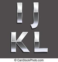 Platinum letters I, J, K, L..