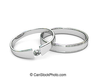 Platinum or silver rings with diamond on white background. ...