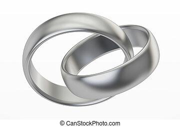platinum or silver wedding rings, 3D rendering
