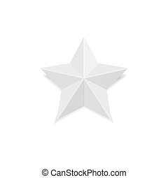 Platinum star made from paper. Origami craft achievement sign.