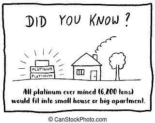 Trivia fact series - fun cartoon doodle newspaper comic strip concept. Platinum metal trivia.