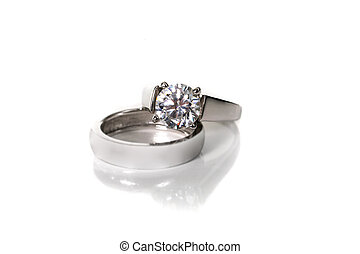 Platinum White Gold Diamond Wedding Engagement Ring With...