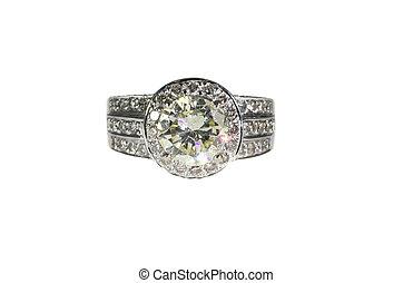 Platinum White Gold Diamond Wedding Engagement Ring With Band Isolated on White Background