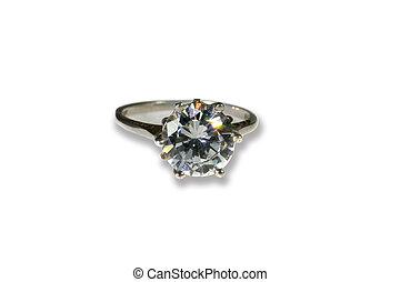 Platinum White Gold Diamond Wedding Engagement Ring With Band
