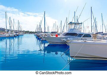 Platja de Alcudia marina in Mallorca Majorca at Balearic...