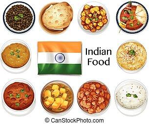 plato, alimento, diferente, indio