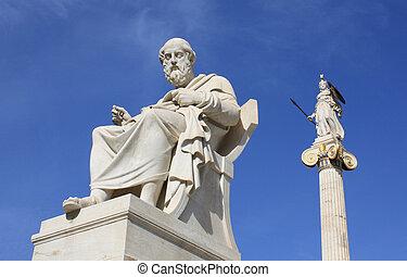 Plato and Athena - Neoclassical statues of Plato (Greek...