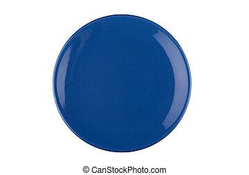 plato azul, blanco
