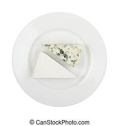 plato azul, blanco, pedazo, queso