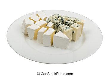 plato azul, queso, aislado, blanco, pedazo