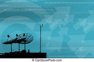 plato basado en los satélites, transmisión, datos, en, fondo...