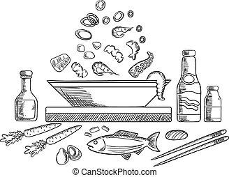 plato, bosquejo, vegetales, mariscos, pez