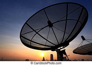 plato, comunicación, satélite