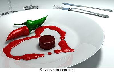plato, corazón