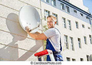 plato de tv, prueba, satélite, hombre