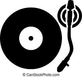 Tocadiscos plato giratorio vector vinilo icono equipo - Plato discos vinilo ...