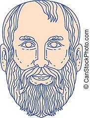 Plato Greek Philosopher Head Mono Line - Mono line style...