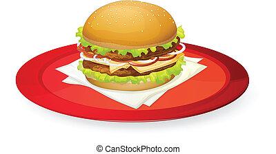 plato, hamburguesa, rojo