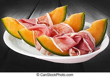 plato, melón, blanco, jamón