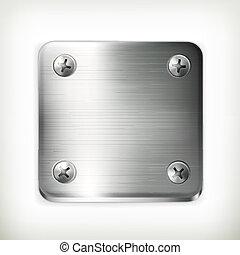 plato metal, con, tornillos, vector