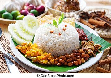 plato, nasi, malaysian, lemak