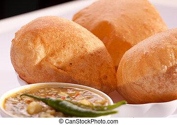 plato, puri, indio, -, bhaji