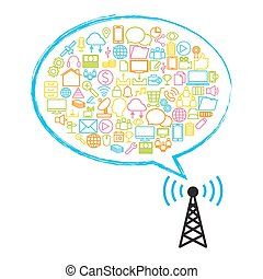 plato, satélite, tecnología, antena