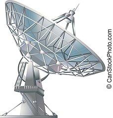 plato, satélite, vector, ilustración