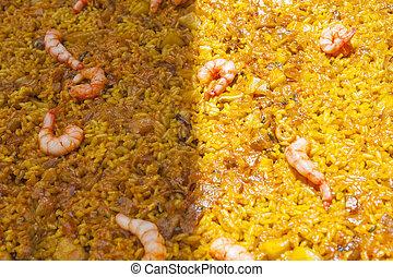 plato, sol, banda, arroz, parcialmente