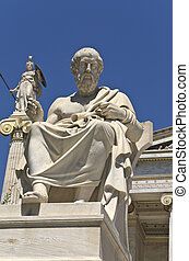 Plato statue at the Academy of Athens building in Athens,...