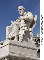 Plato - Neoclassical statue of ancient Greek philosopher...