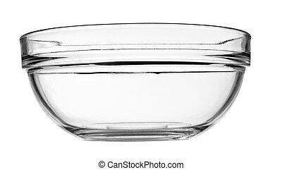 plato, tazón de vidrio, transparente