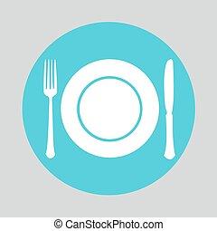 Plato tenedor icono de cuchillo tenedor plano eps for Plato tenedor y cuchillo
