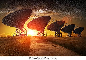 plato, vista satélite, noche