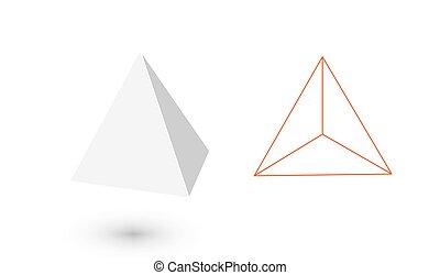 platonic, figure., mode, géométrique, tétraèdre, design., ...