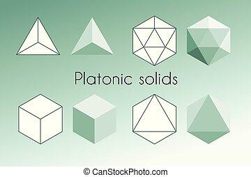 platonic, illustration., géométrie, quatre, vecteur, solids., sacré