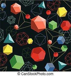 platonic, linee, astratto, pattern., seamless, geometrico, forme, residuo secco, 3d
