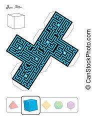 Labyrinthe d'hexaèdre solide platonicien - HEXAHEDRON MAZE - peinture ...
