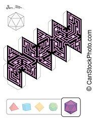 Labyrinthe d'icosaèdres solides platoniques - ICOSAHEDRON MAZE -...