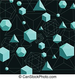 Platonic solids abstract background