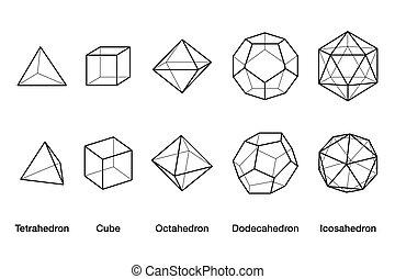 Platonic solids, black and white wireframe models - Platonic...