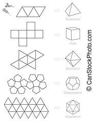 Platonic Solids Craft Pattern - Platonic solids - coloring ...