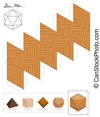 Platonic Solids Icosahedron Wooden Texture - Platonic solids...