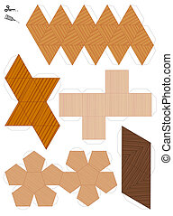 Platonic Solids Paper Model Wooden Style