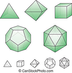 Platonic solids - regular, convex polyhedrons in Euclidean geometry. There are five solids, each is named according to its number of faces: tetrahedron, hexahedron, octahedron, dodecahedron and icosahedron.