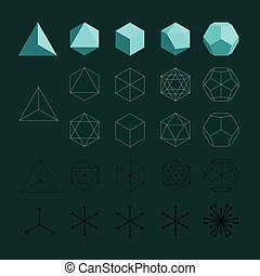 Solides platoniques. Tétraèdre, octaèdre, cube, icosaèdre ...