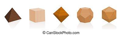 Pièces en bois solides platoniques Différents bois - Platon ...