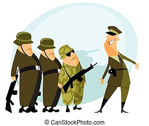 Platoon and commander - Vector illustration of a platoon and...