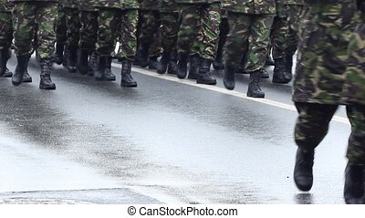 Platoon Marching - Close -up shot of an entire platoon in...