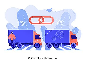 platooning, camion, illustration., concetto, vettore